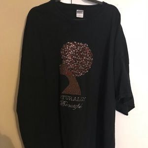 Tops - Rhinestone Natural Hair Tee